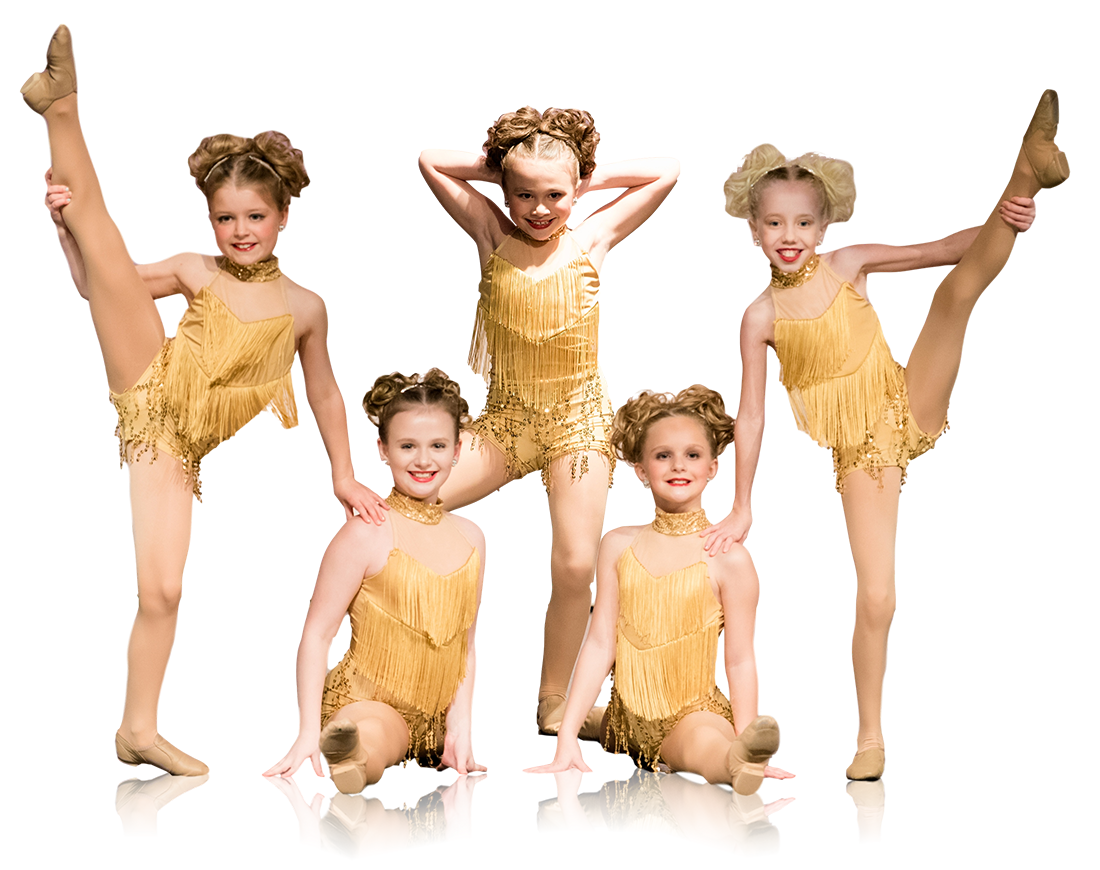 Group of young dancers posing in gold costumes