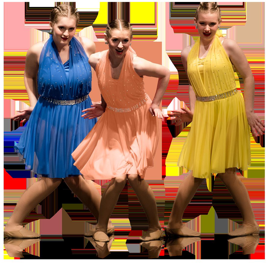 Three dancers in bright colored dresses.