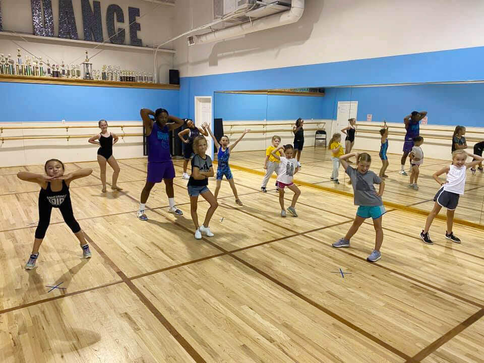 Young dancers participate in a hip-hop masterclass.
