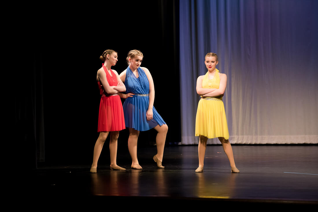 Musical theatre dancers posed on stage