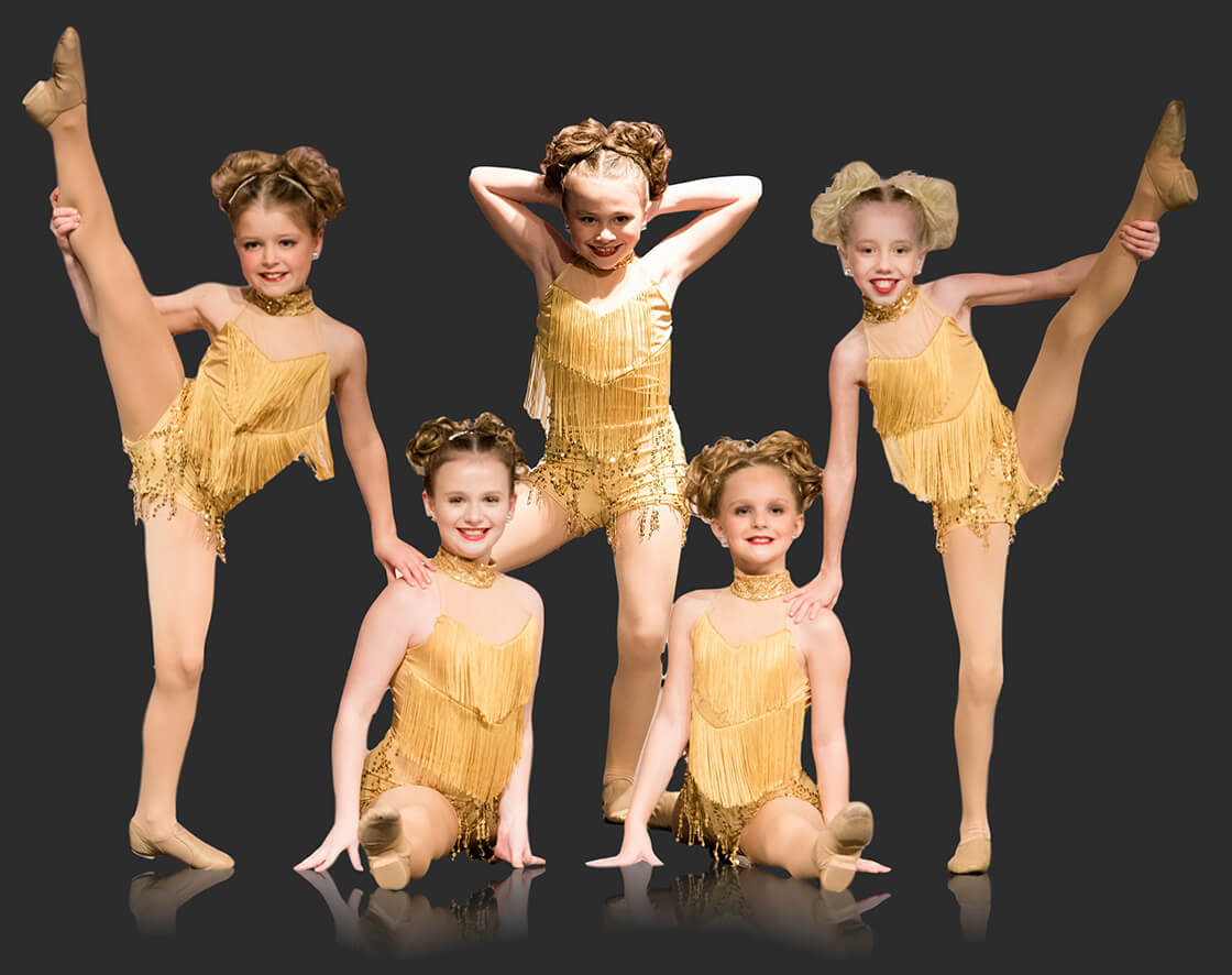 Young dancers posed in gold costumes