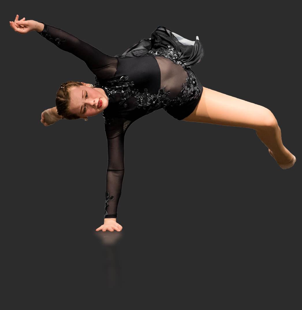 Lyrical dancer moving across floor