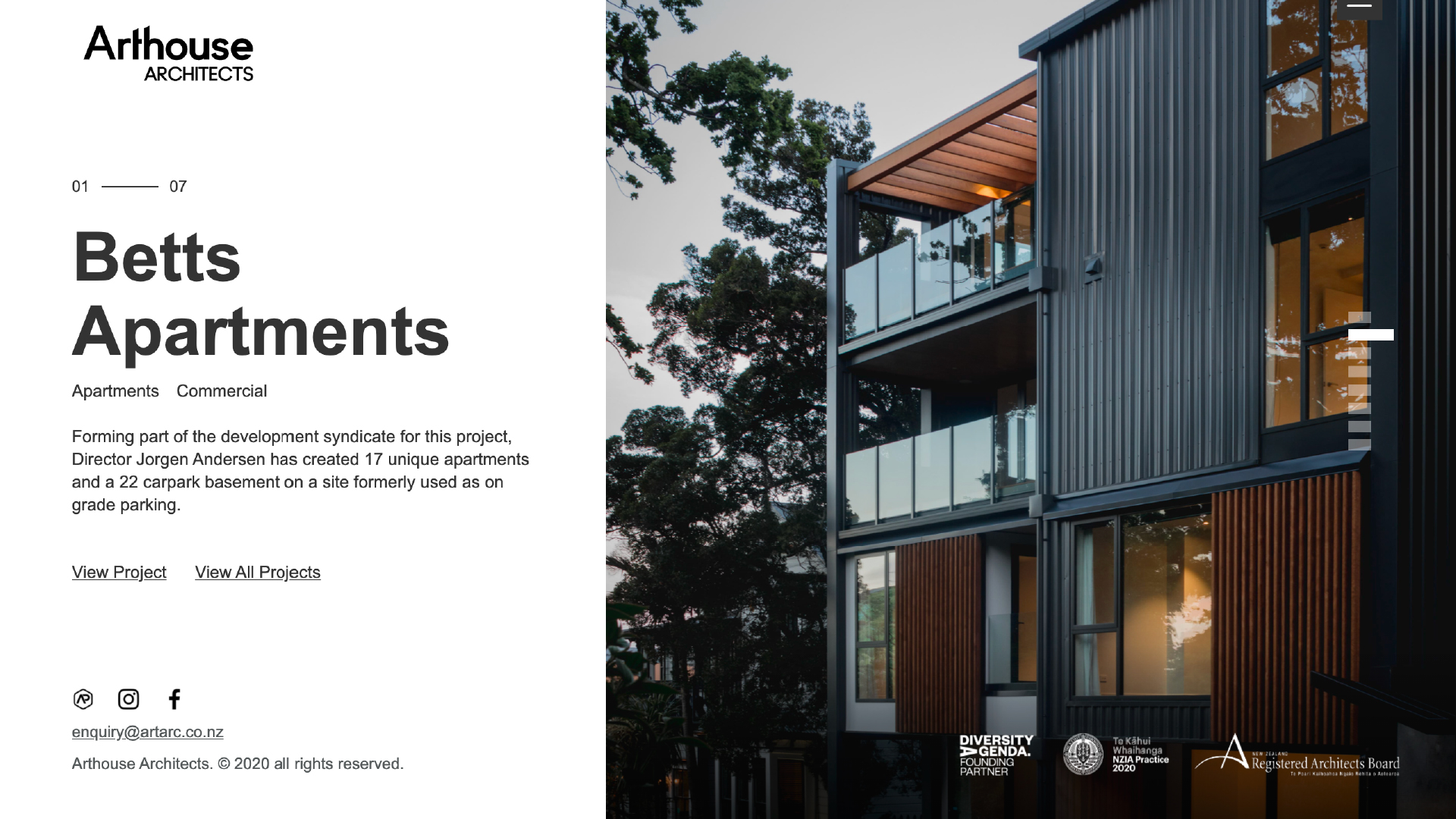 attraction studio arthouse architects brand web betts apartments project