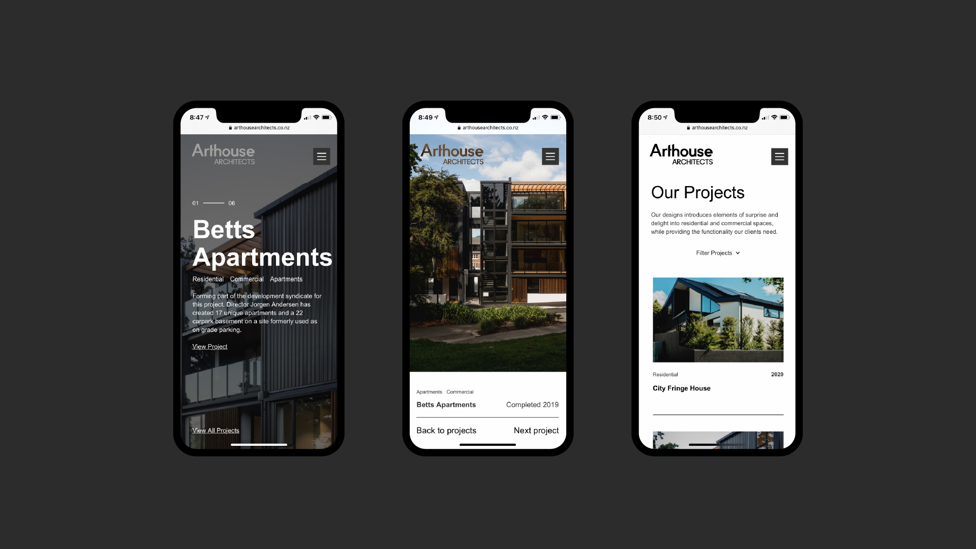attraction studio arthouse architects brand web mobile multiview