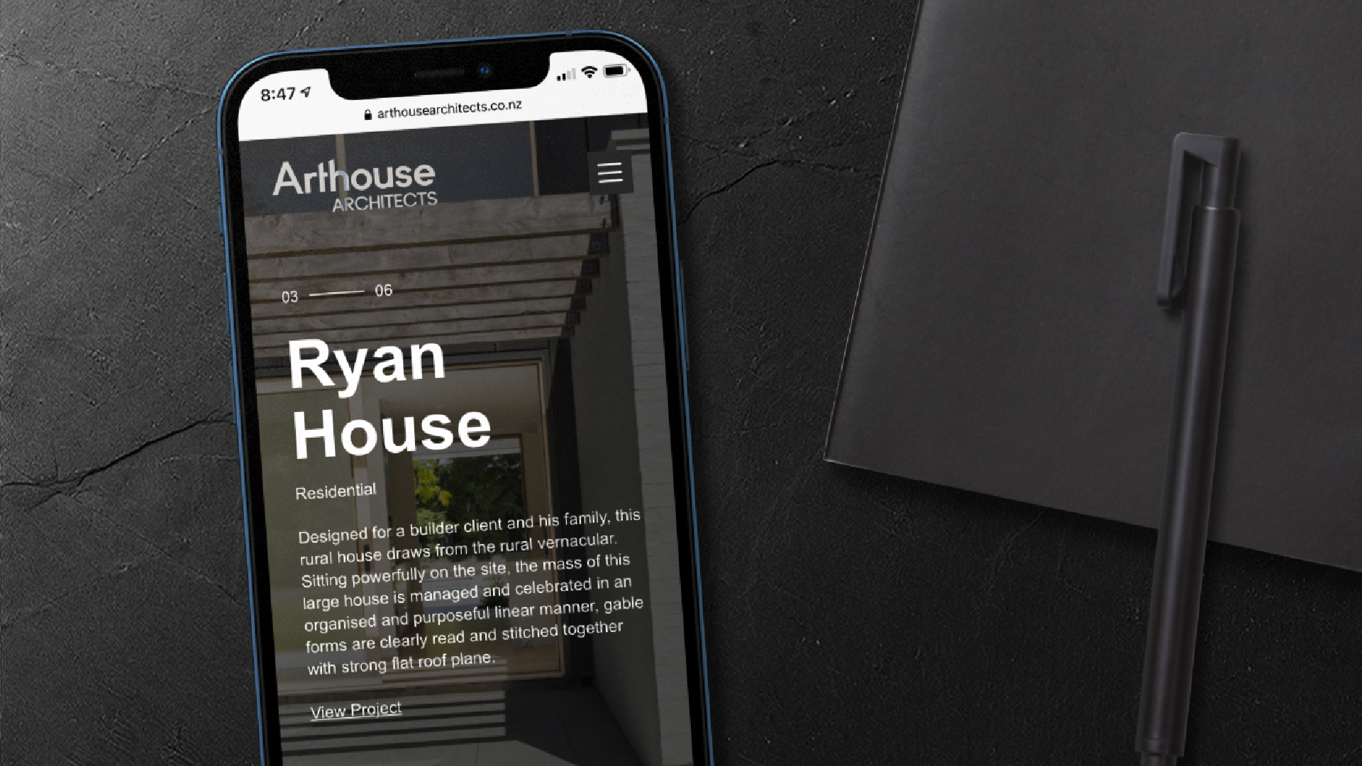 attraction studio arthouse architects brand web mobile view