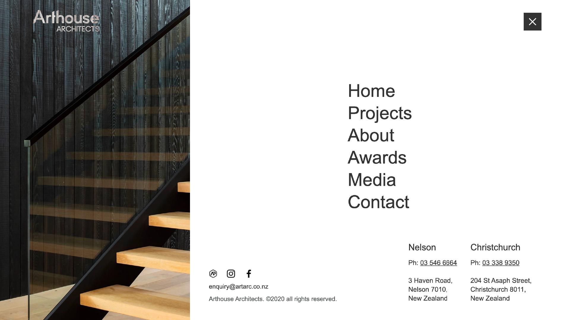 attraction studio arthouse architects brand web desktop navigation