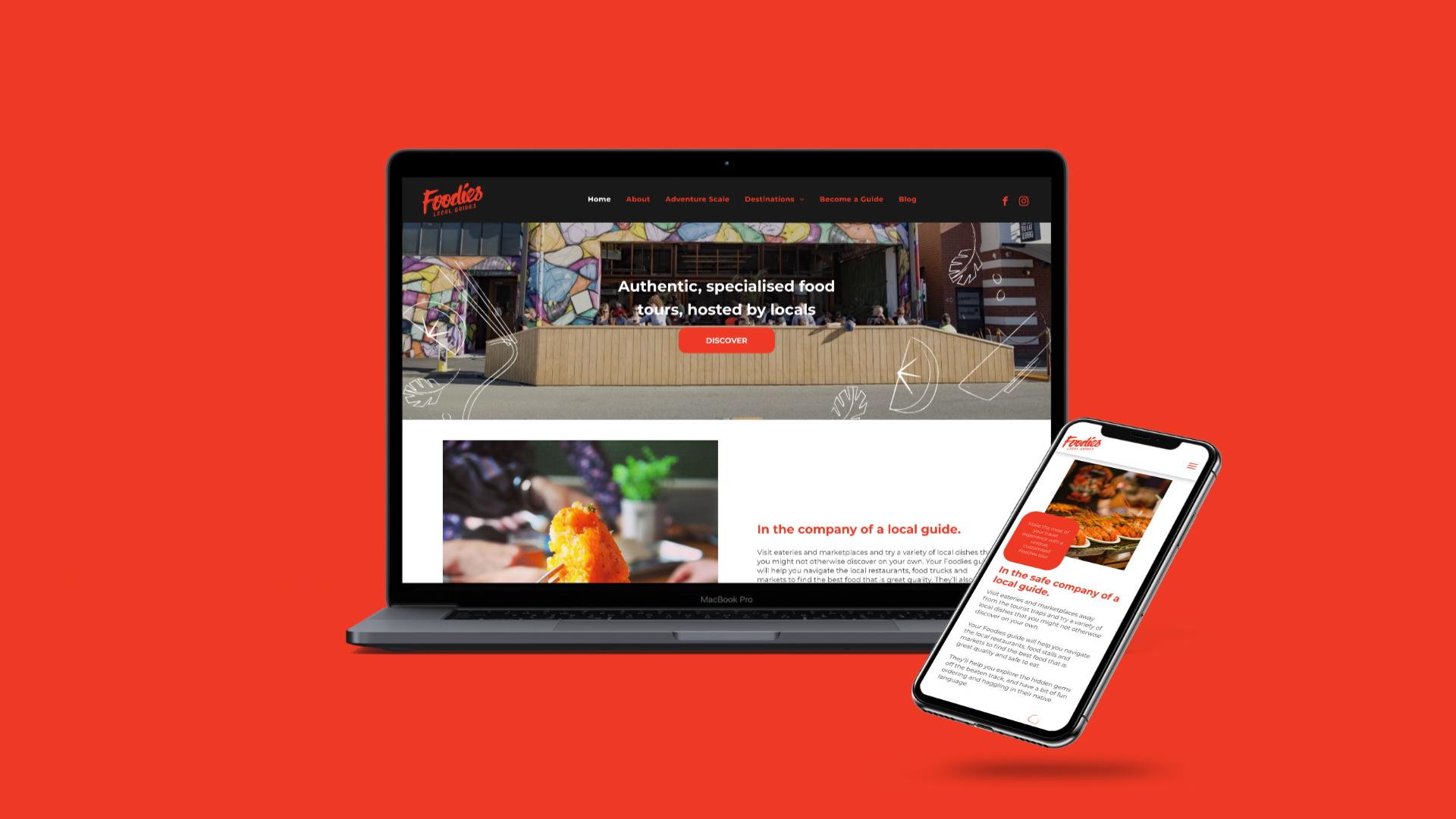 attraction studio foodies brand web desktop and mobile view