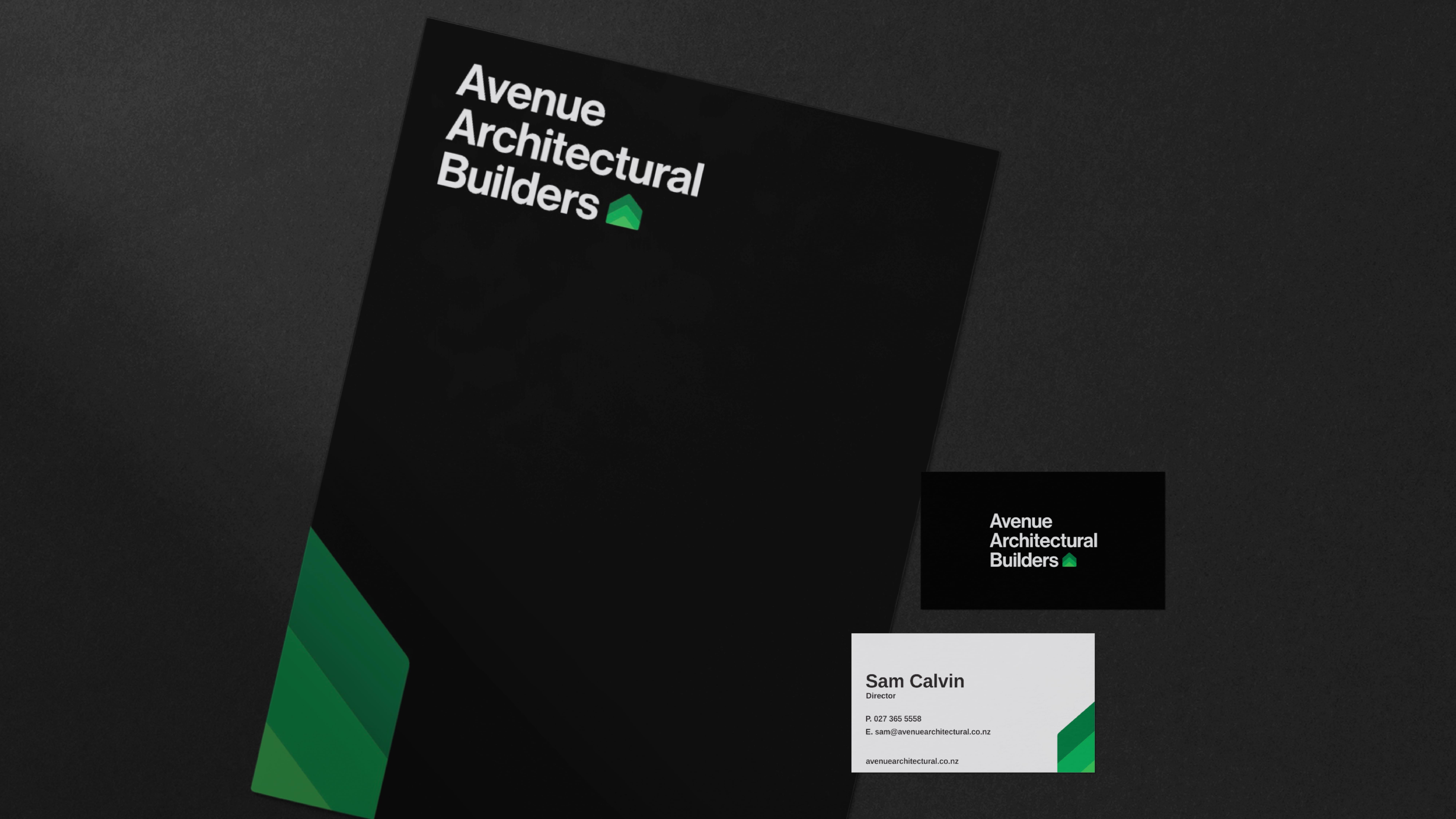 attraction studio avenue architectural brand web presentation folder and business cards