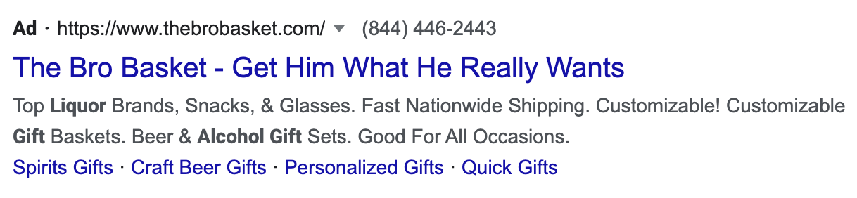 Example Holiday Google Search Ads