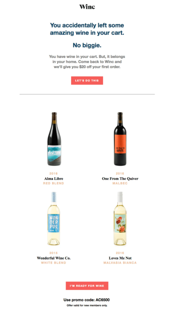 Alcohol Abandoned Cart Email Example