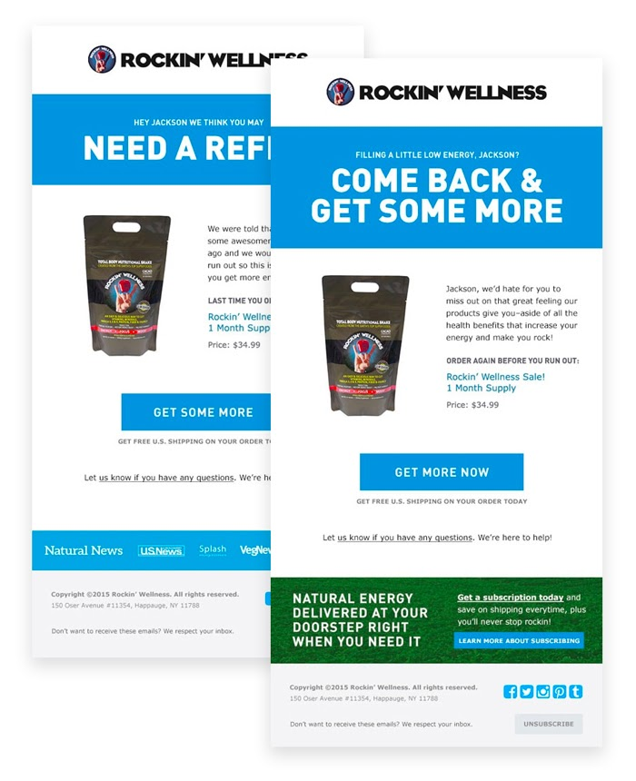 Rockin' Wellness Re-Engagement Email Examples