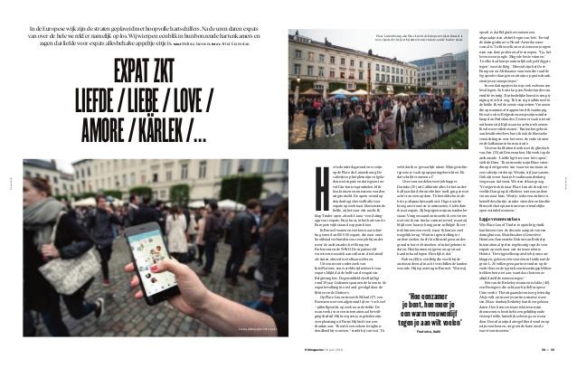 Expat zkt liefde/liebe/love/ amore/kärlek/... De Morgen Magazine vraagt ons om duiding.