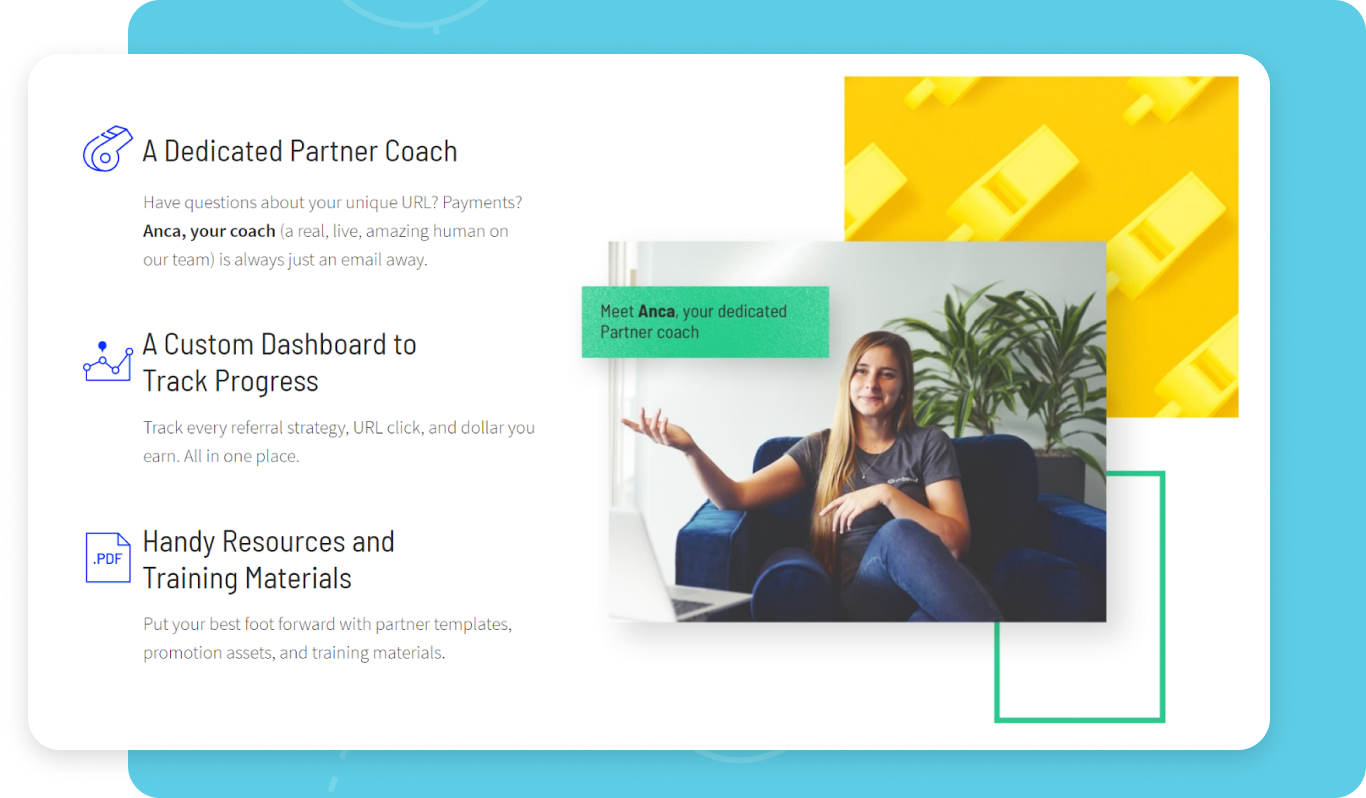 Screenshot of Unbounce partner program webpage showing partner benefits