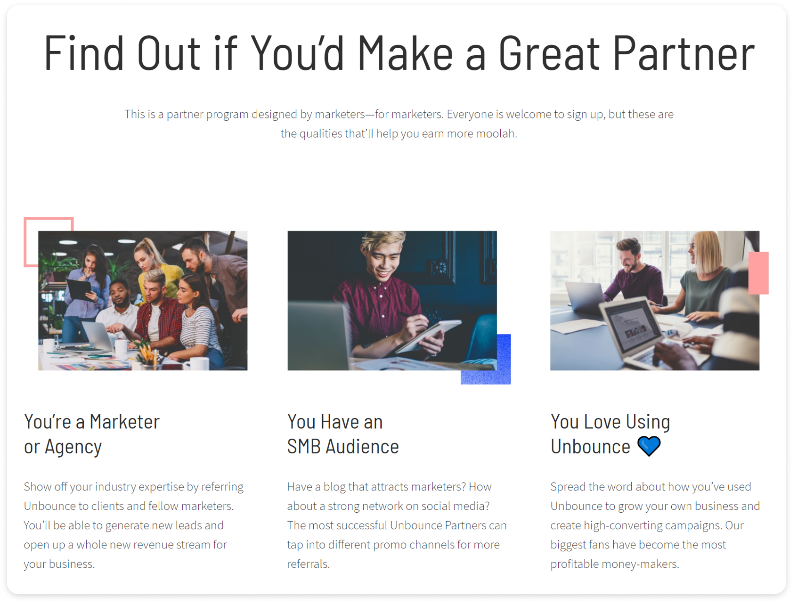 Screenshot of Unbounce's partner program webpage on why you should become a partner