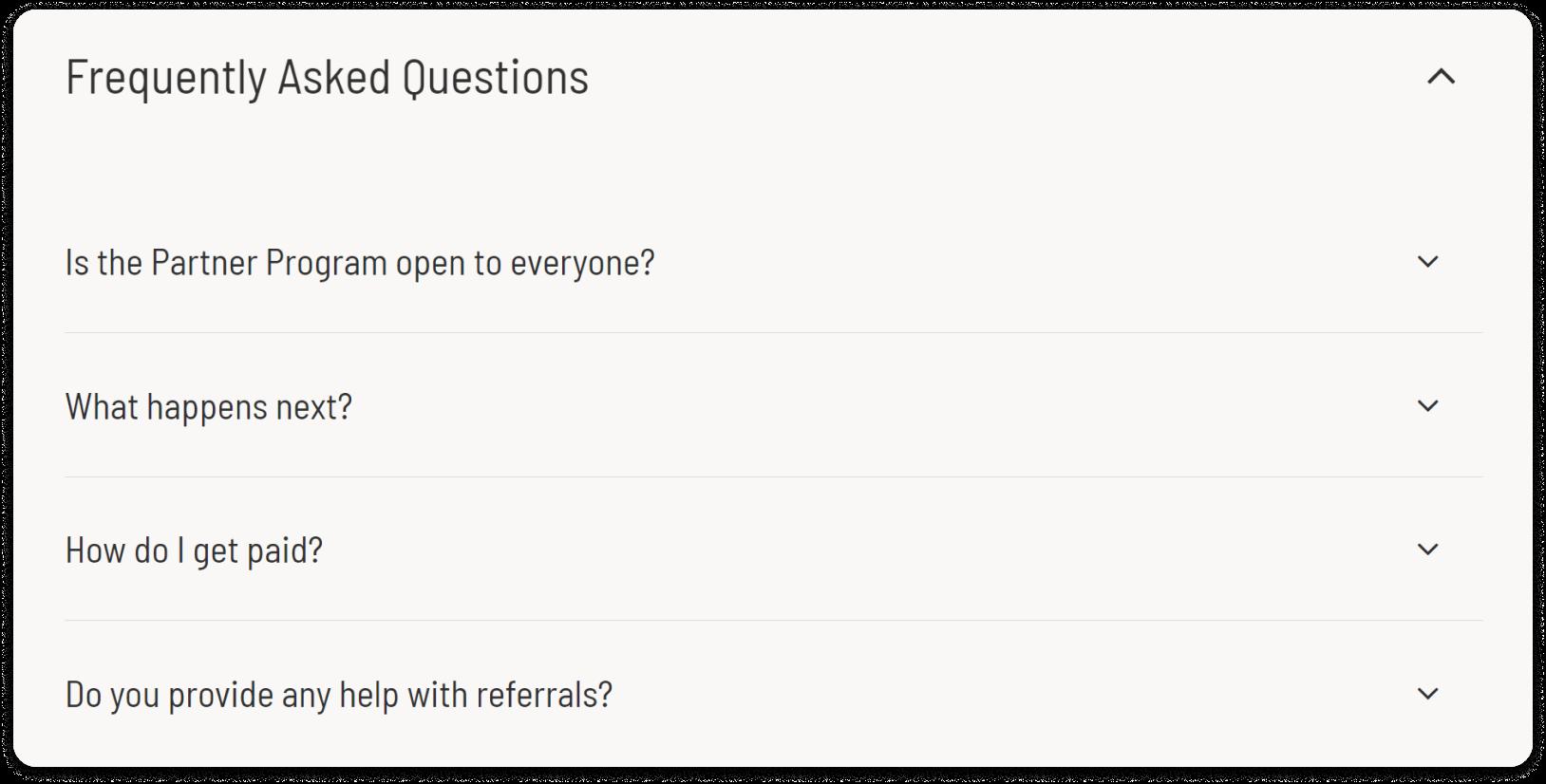 Screenshot of FAQ section of Unbounce's partner program webpage