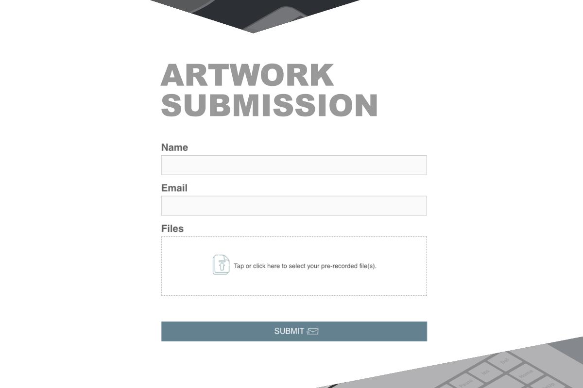 EZ File Drop artwork submission sample form.