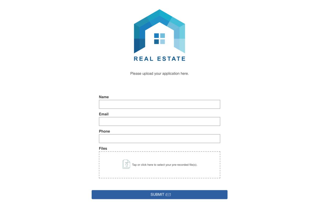 EZ File Drop Real Estate upload form.