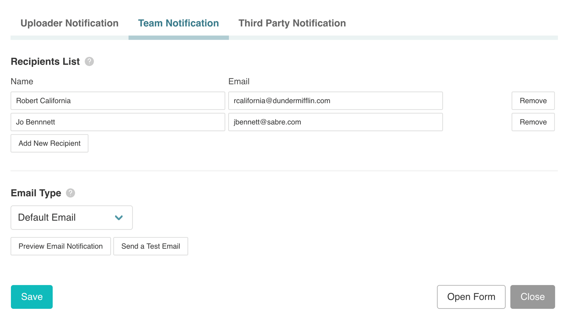 Set custom EZ File Drop email notifications.