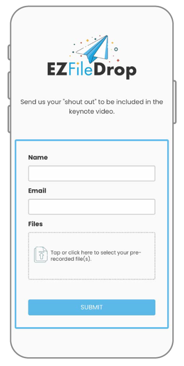 An EZ File Drop form on a mobile device.