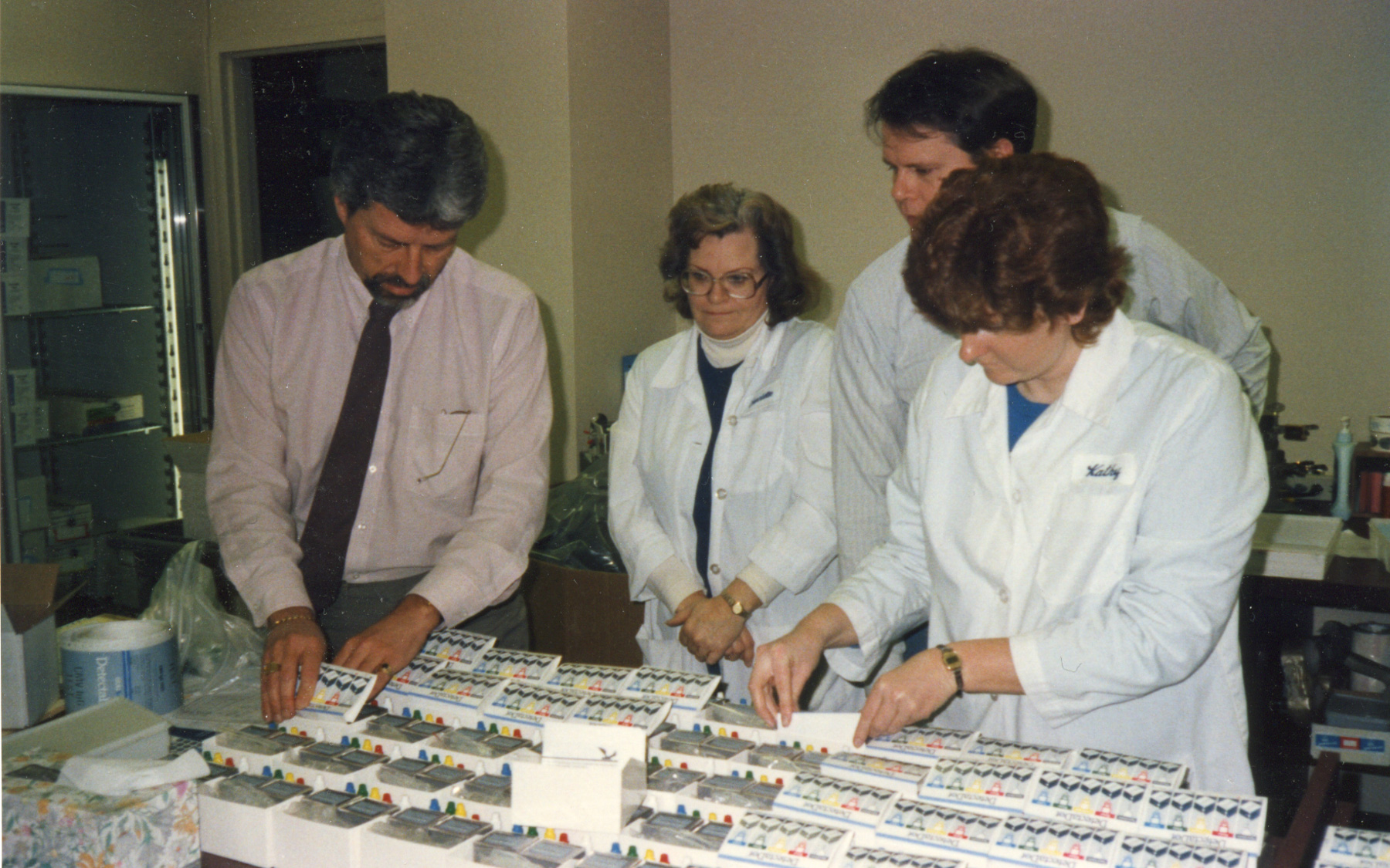Dr. Wentz with his staff of scientists and researchers