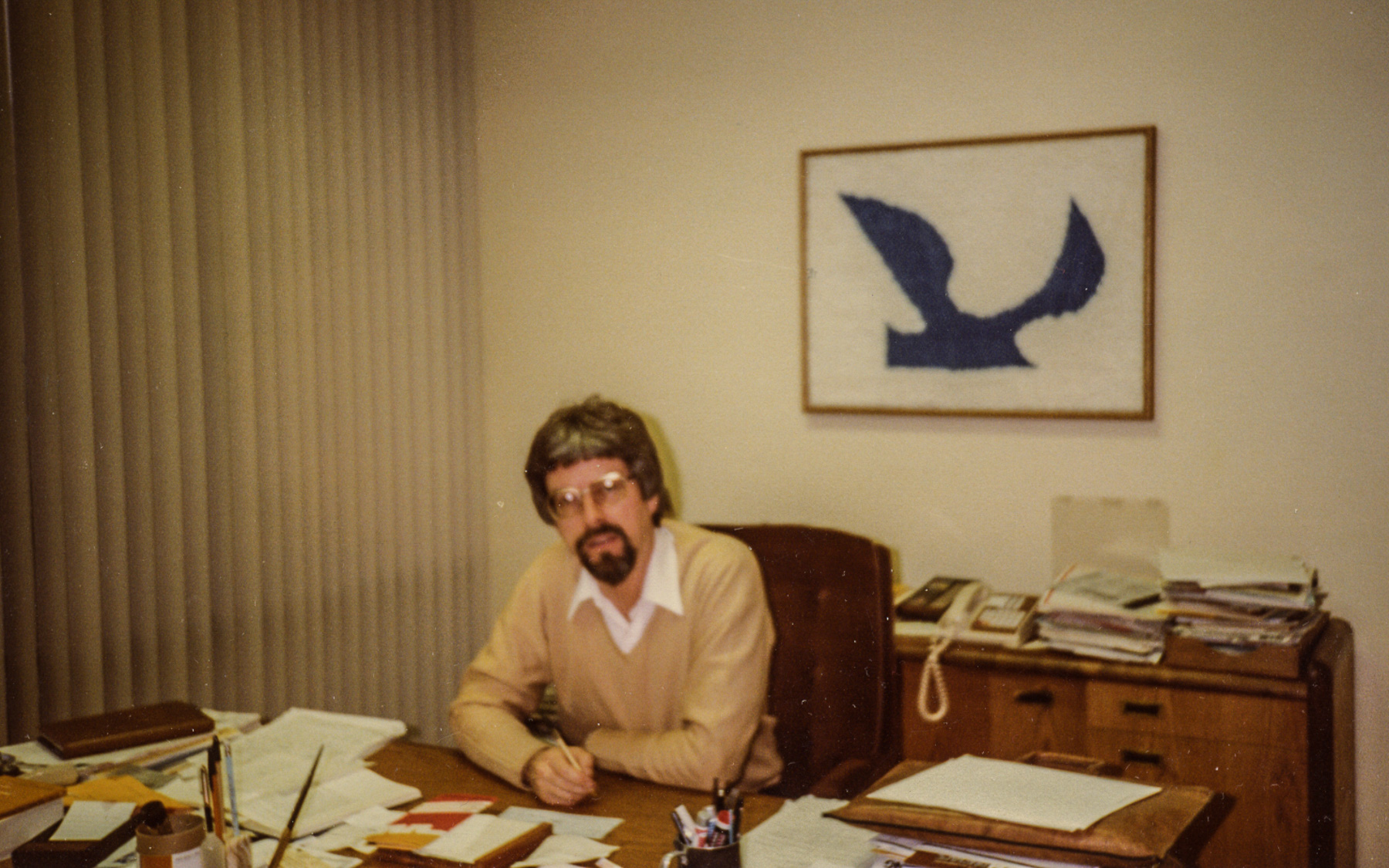 Dr. Wentz in his office at Gull Laboratories