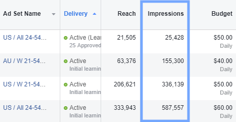 screenshot of the fb ads reporting window for number of impressions