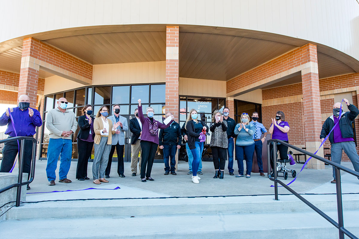 A scene from the Andover 5000 Building Ribbon Cutting