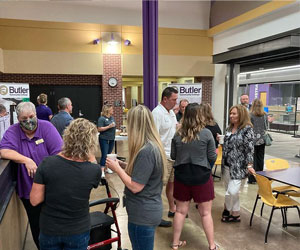 People networking at the Morning Brew event in Andover.