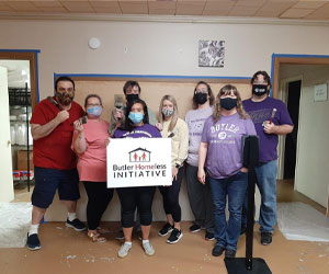 Butler's Accounts Receivable Team volunteering at the Butler Homeless Initiative.