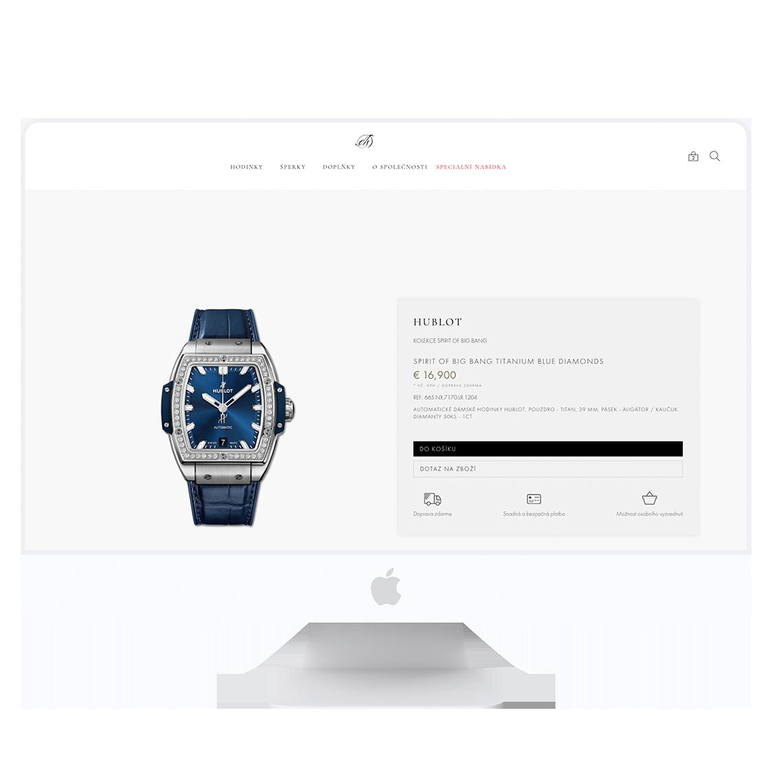 Vývoj webových stránek pro klenotnictví Art de Suisse
