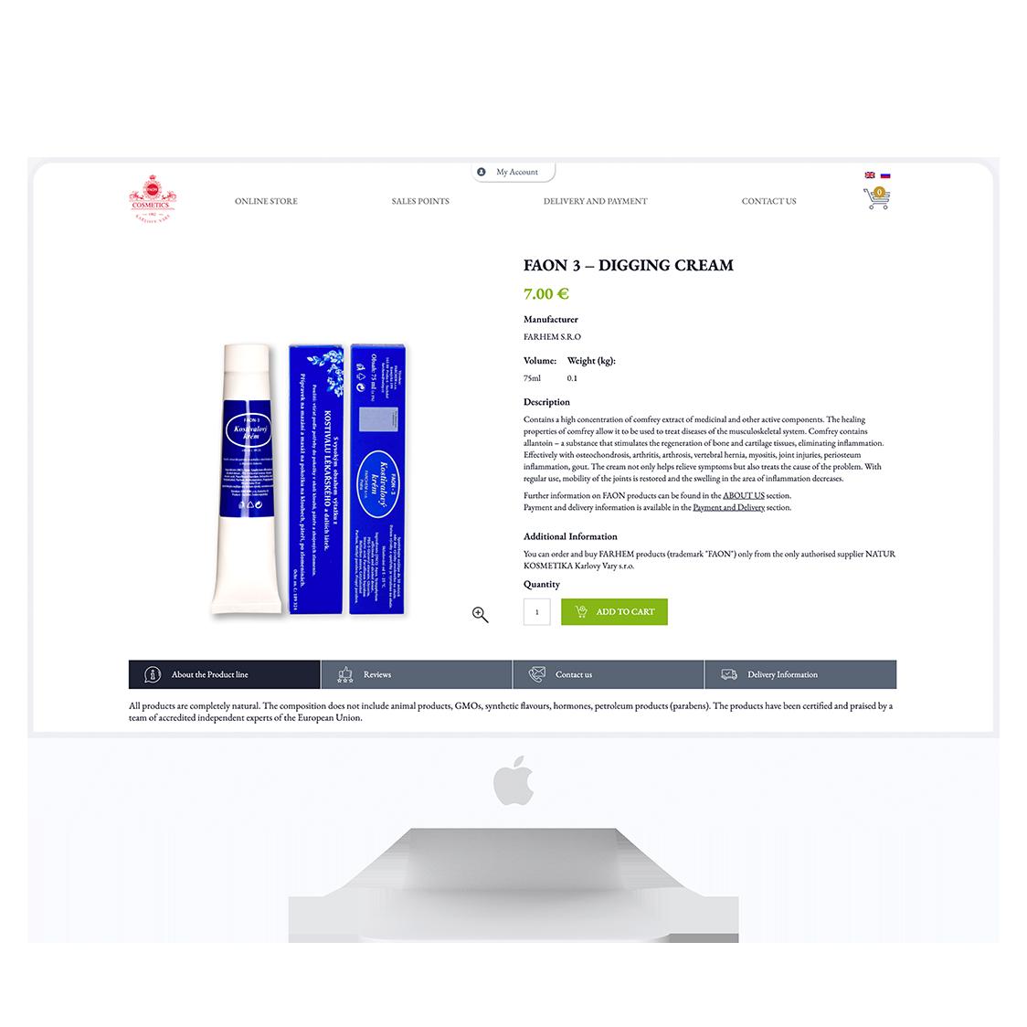 Vývoj vícejazyčného internetového obchodu pro Faon Cosmetics