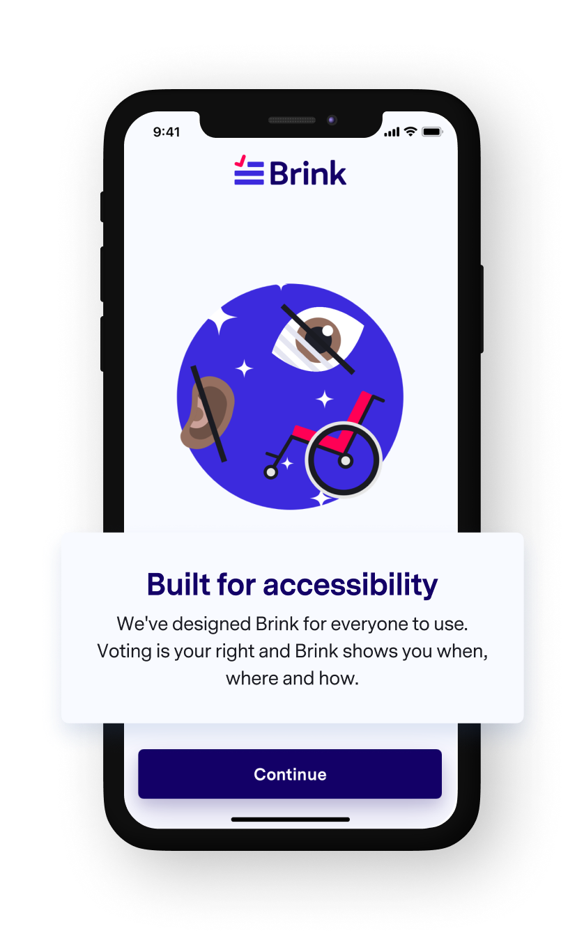 A phone mockup of the Brink app Accessibility features.