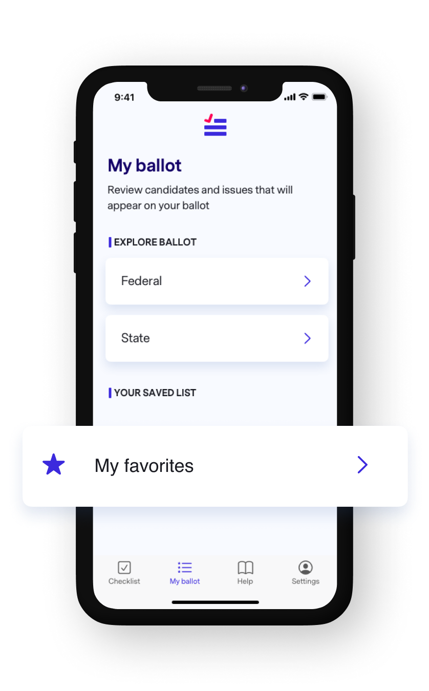 A phone mockup of the Brink app Ballot feature.