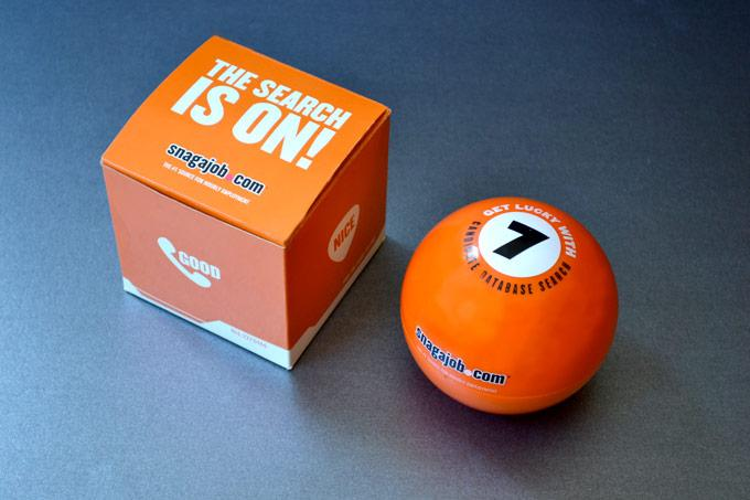 Billiard ball with box container. Box says
