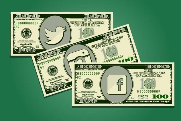 Three $100 bills with social media icons replacing picture in the center of each.