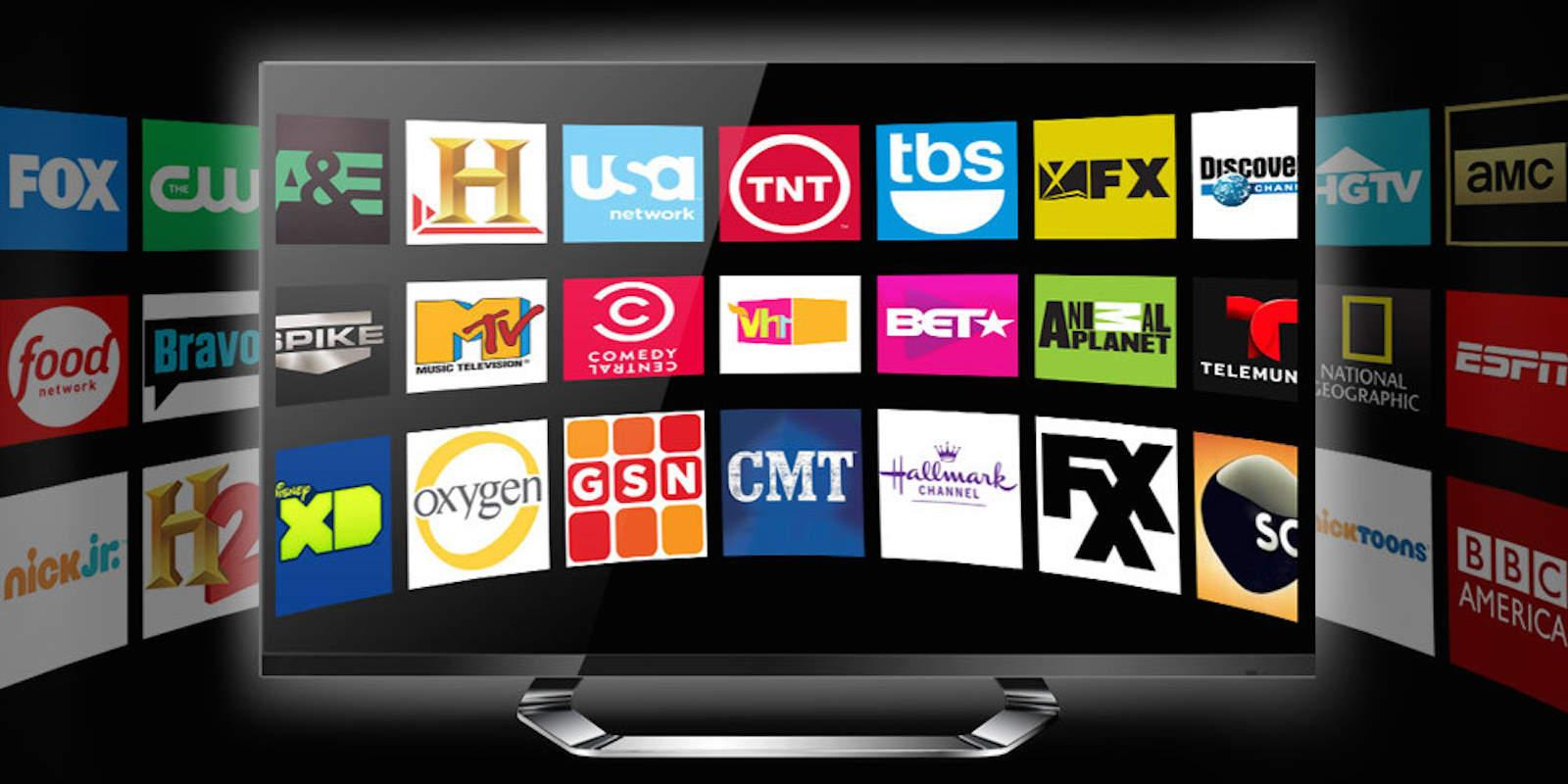 Logos of many TV networks.