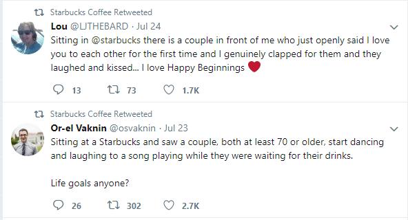 Tweets from @starbucks describing positive experiences at Starbucks stores.