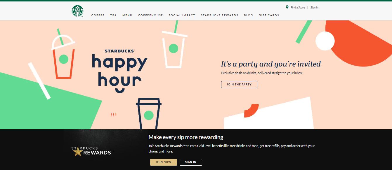 Screenshot of Starbucks Happy Hour promotion.