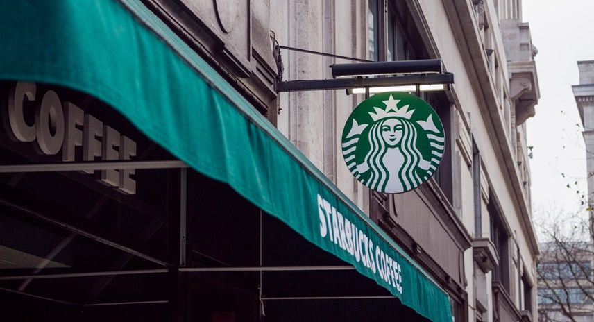 Starbucks marquee and sign.