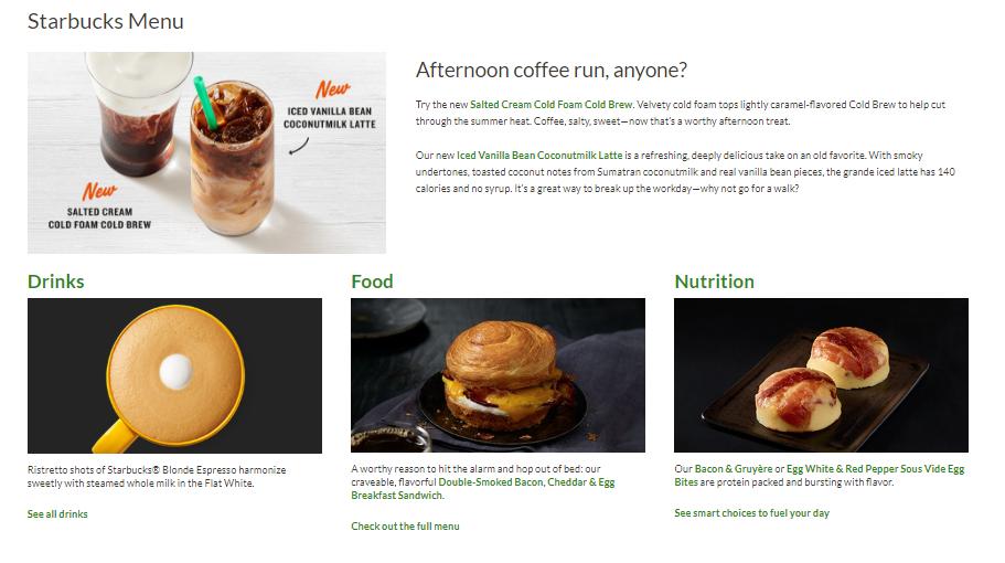 Starbucks menu.