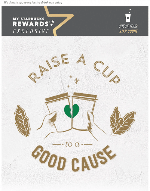 Starbucks Raise A Cup To A Good Cause promotion.
