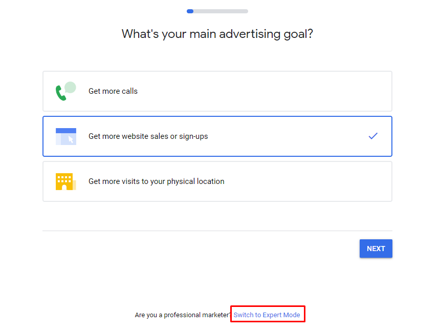 """The opening Google Ads screen showing the location of the """"expert mode"""" link."""