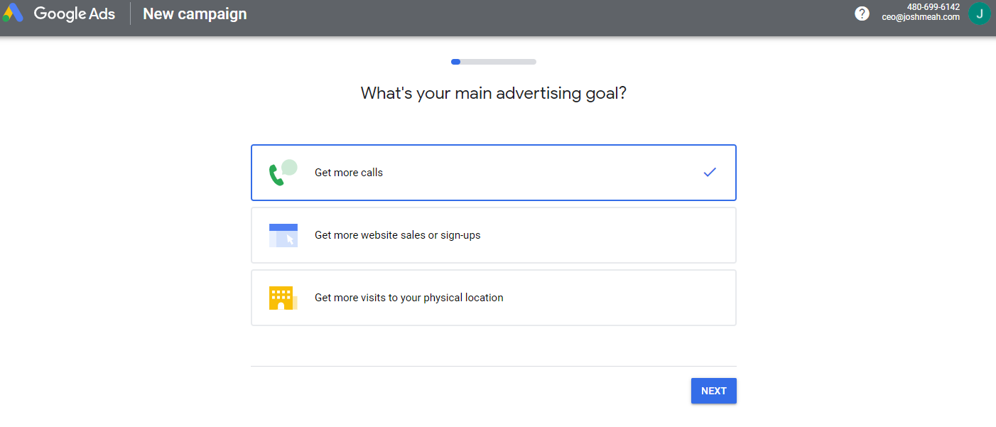 Options available when logging in to Google Ads the first time.