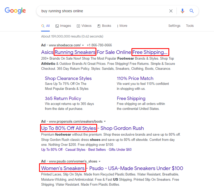 Examples of ads for comparison. Top ad has sitelink extensions for more options and content.