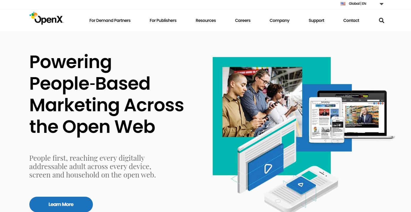 Homepage of OpenX ad exchange.
