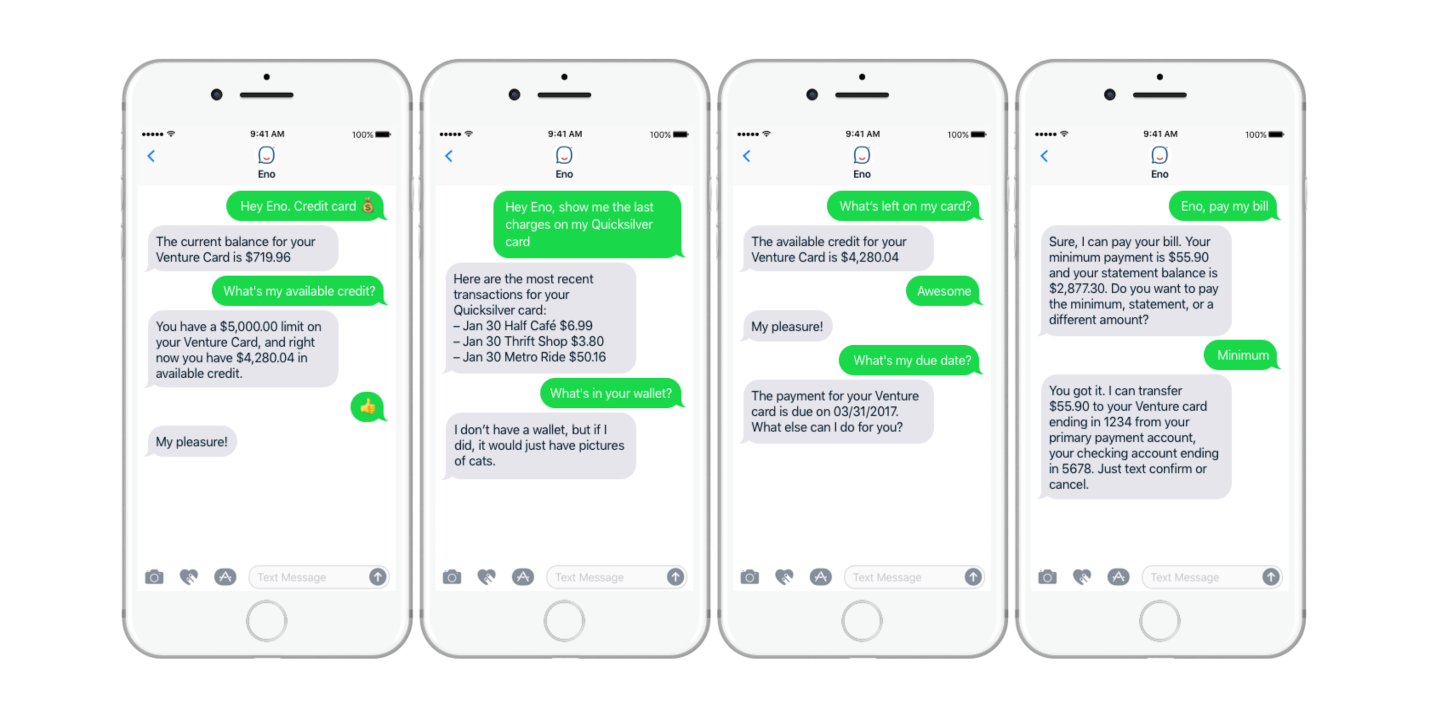 Capital One launches 'Eno' SMS chatbot for managing your credit card & bank  accounts - 9to5Mac