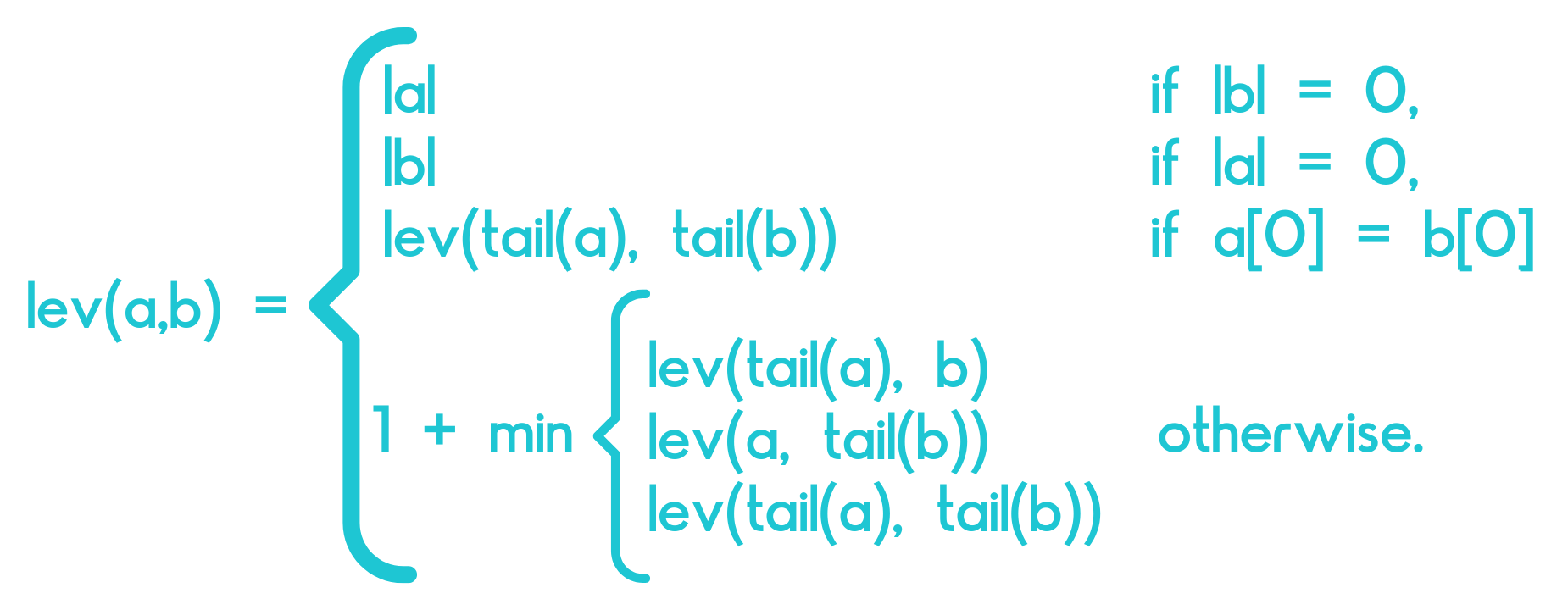 Levenshtein distance calculation formula