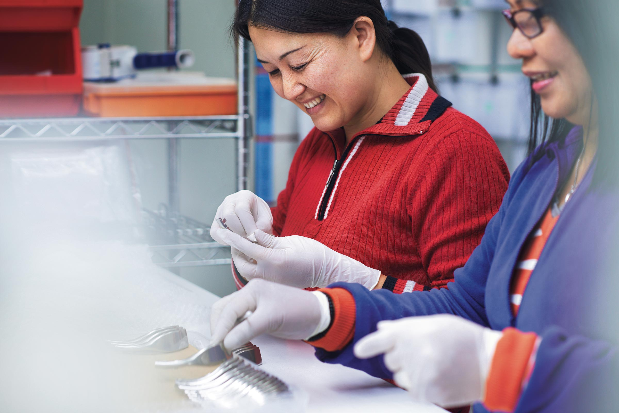 Two women working in healthtech manufacturing