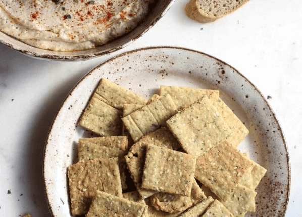 Crispy Almond Flour Crackers with Sesame Seeds