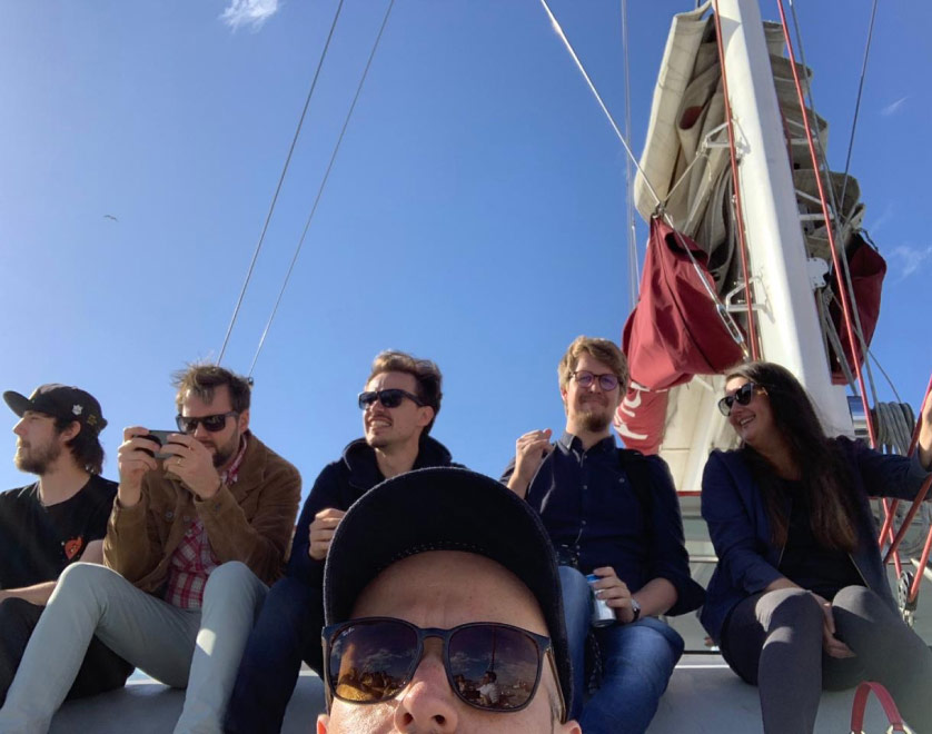Team selfie on a catamaran